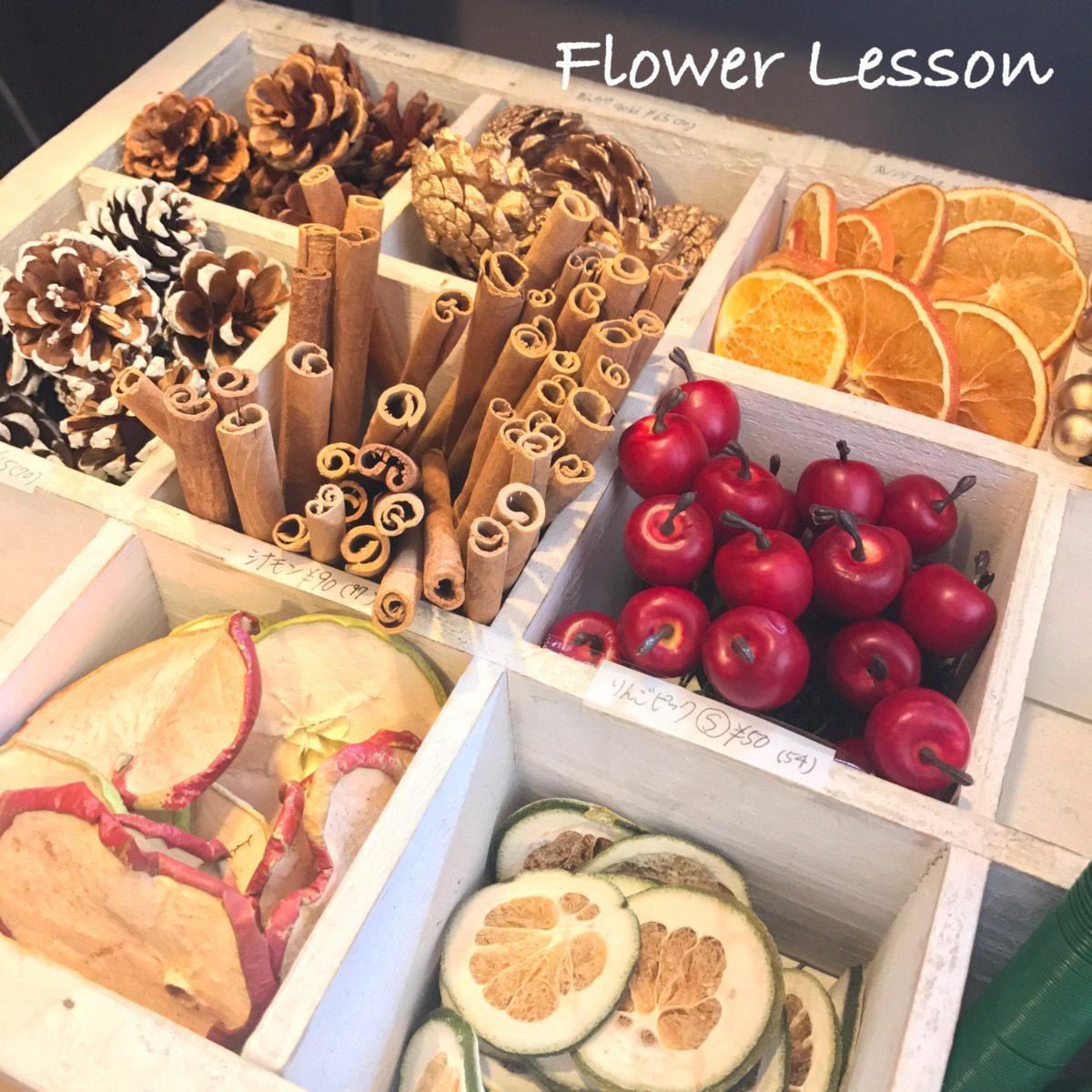 お花教室 ハットBOXのクリスマスアレンジ